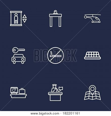 Set Of 9 Aircraft Outline Icons Set.Collection Of Airport Security, Car Rent, Helicopter And Other Elements.