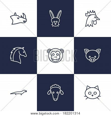 Set Of 9 Alive Outline Icons Set.Collection Of Rhino, Cat, Cock And Other Elements.
