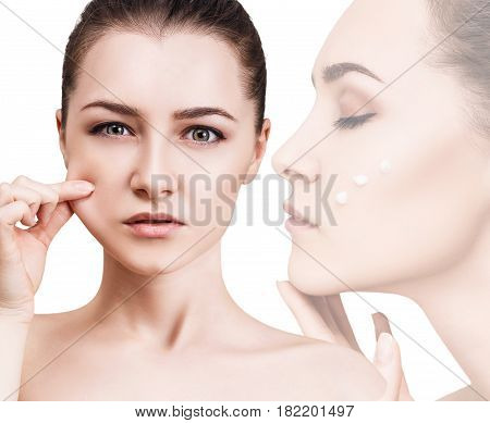 Collage of woman pulls elasticated skin after cream over white background.