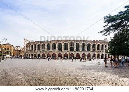 Verona, ITALY - September 3, 2016. Beautiful street view of  Verona center. Shakespeare's plays are set in Verona: Romeo and Juliet, The Two Gentlemen of Verona, and The Taming of the Shrew