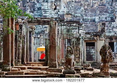 Stunning Bayon temple in Angkor Archaeological area in Cambodia