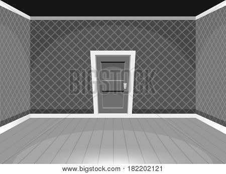 Cartoon Empty Room With A Door Black And White
