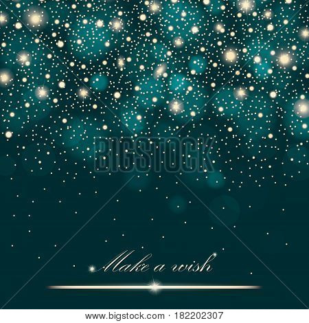 Gold Glitter Particles Background Effect For Luxury Greeting Rich Card. Sparkling Texture. Star Dust