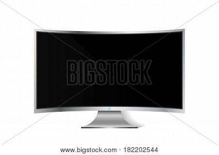 Realistic curved TV monitor isolated on white