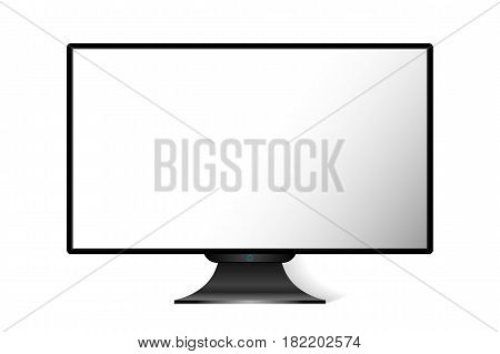 Realistic black modern TV monitor isolated on white