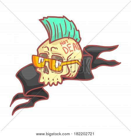 Punk skull wearing glasses. Colorful cartoon illustration isolated on a white background