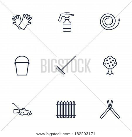 Set Of 9 Horticulture Outline Icons Set.Collection Of Pail, Harrow, Palisade And Other Elements.
