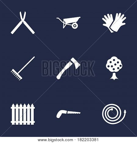 Set Of 9 Horticulture Icons Set.Collection Of Hacksaw, Garden Hose, Scissors And Other Elements.