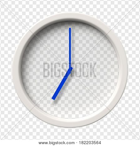 Realistic Wall Clock. Seven oclock am or pm. Transparent face. Blue hands. Ready to apply. Graphic element for documents, templates, posters, flyers. Vector illustration.