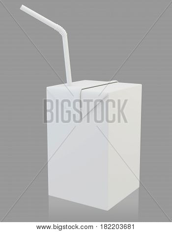 Blank milk or juice carton package with straw over white background. 3d rendering