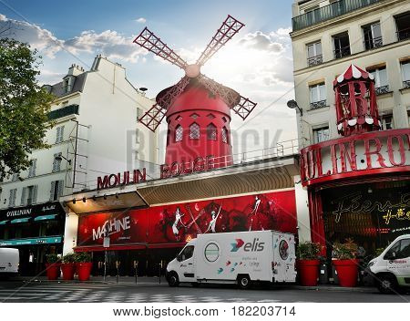 PARIS, FRANCE - AUGUST 24, 2016 : Nightclub Moulin Rouge in Paris at sunrise, France