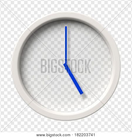 Realistic Wall Clock. Five oclock am or pm. Transparent face. Blue hands. Ready to apply. Graphic element for documents, templates, posters, flyers. Vector illustration.