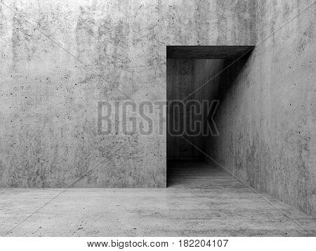 3D Empty Interior, Doorway In Gray Concrete Wall