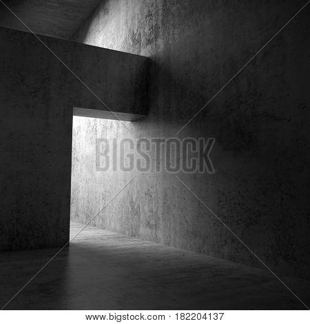 Abstract Dark Empty Interior, Doorway In Concrete