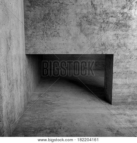 Abstract Empty Interior, Doorway In Concrete Wall