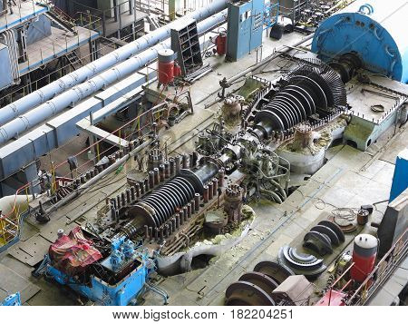 steam turbine in repair process machinery pipes tubes at an power plant