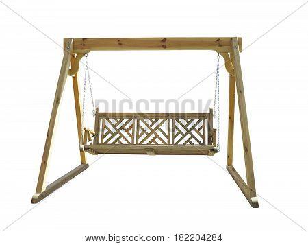 wooden garden swing isolated over white background