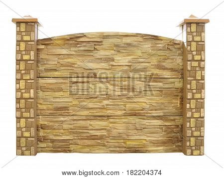 Brown Textured Decorated Isolated Concrete Fence Isolated Over White