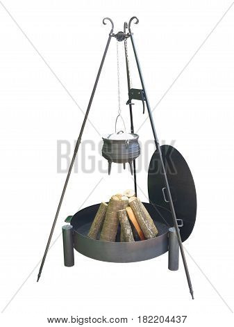 Metallic fire place for camping firewood and iron pot isolated over white background