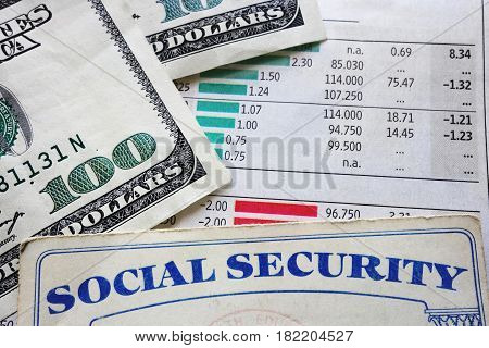 social security card money and chart numbers