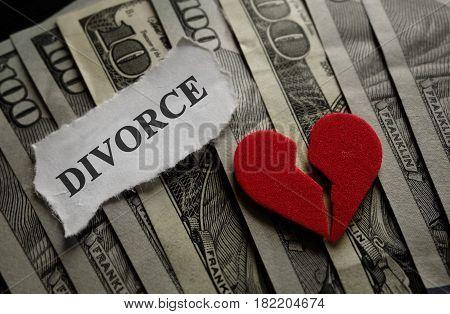 Broken heart with Divorce paper note on money