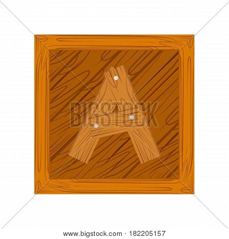 wooden alphabet A letter icon isolated on white background