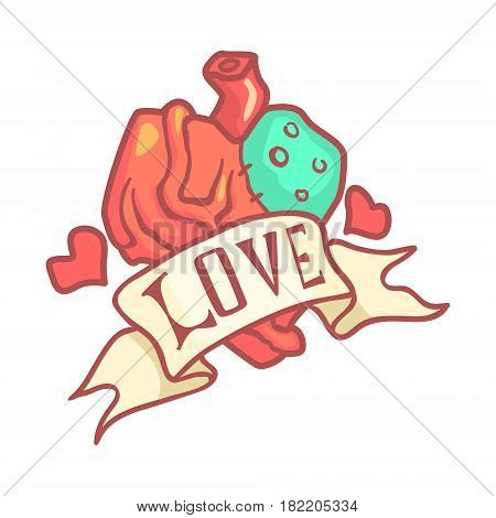 Human anatomical heart with ribbon. Colorful cartoon illustration isolated on a white background