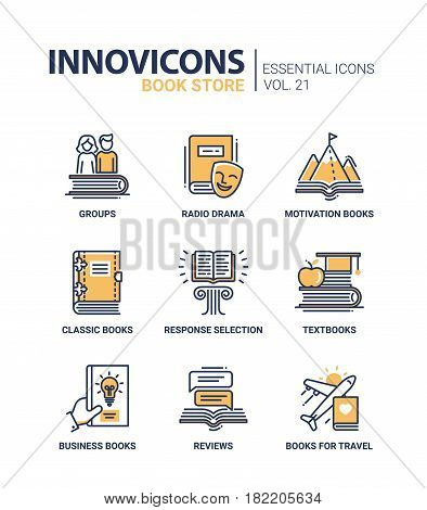 Book store - modern color vector single line icons set. Group, radio drama, motivation book, classic, response selection, textbook, business, review, travel guide