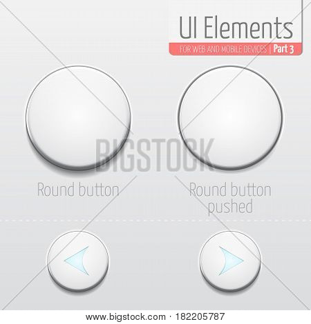 Light UI Elements Part 3: Round button. UI set. In default and pushed state. Round buttons with glowing arrows.
