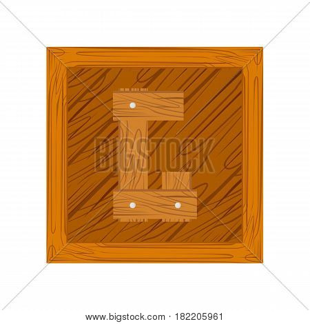 wooden alphabet G letter icon isolated on white background