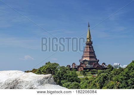 Phra Mahathat Napha Methanidon, pagoda in park near Doi Inthanon, Chiang Mai, Thailand