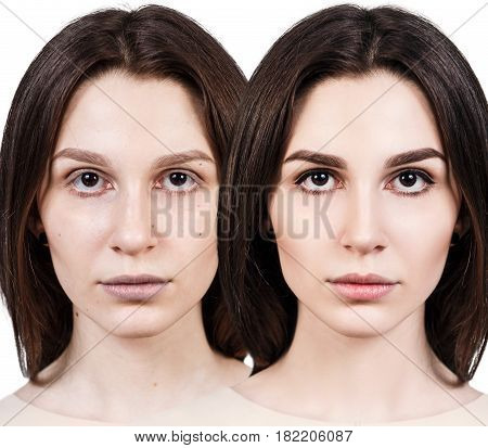 Comparative portrait of young woman without and with makeup