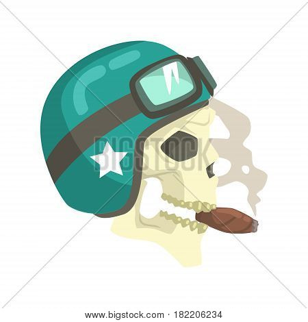 Scull In Green Helmet Smoking Cigar, Colorful Sticker With War And Biker Culture Attributes Vector Icon. Creepy Dead Chost Rider Head Print Cool Cartoon Illustration.