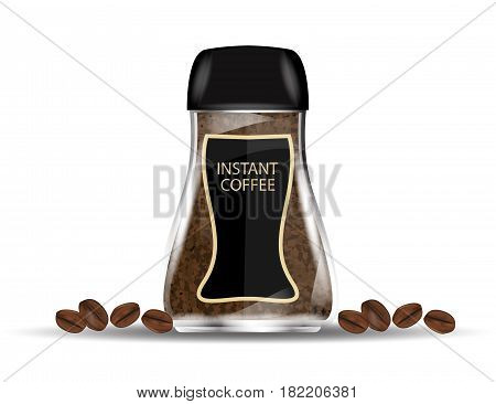 Coffee Glass Jar with Instant Coffee Granules and Coffee Beans Isolated on White Background. Vector Illustration.