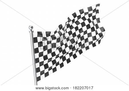 Checkered race flag. Finishing checkered flag. 3d rendering isolated on white background