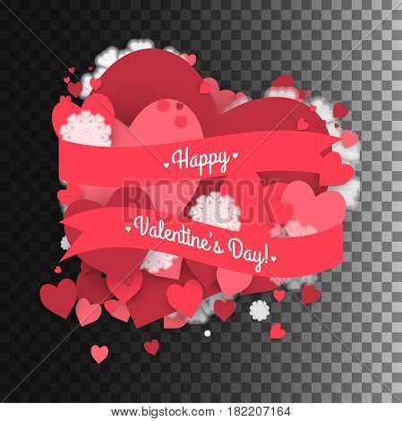 Hearts dust abstract St. Valentine's Day background. Stock vector