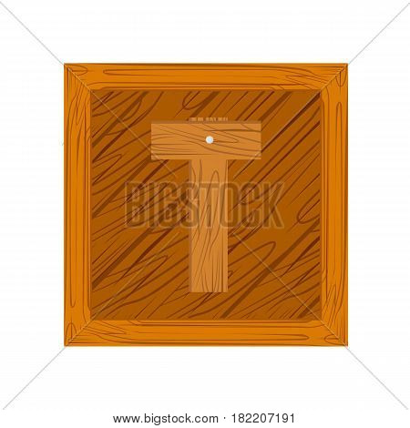wooden alphabet T letter icon isolated on white background
