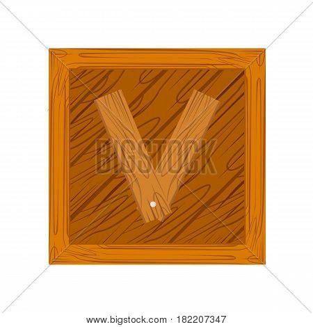 wooden alphabet V letter icon isolated on white background