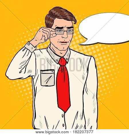 Shocked Businessman in Eyeglasses. Pop Art Vector illustration