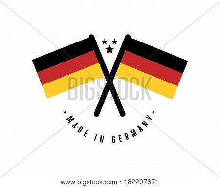 Made in Germany certificate element for products vector illustration isolated on white background. Exporting sticker with crossing deutsch flags