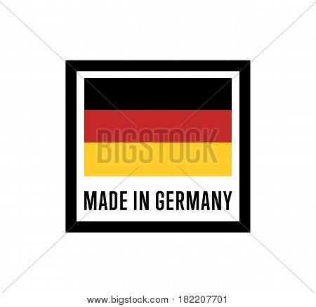 Made in Germany label for products vector illustration isolated on white background. Square exporting stamp with deutsch flag, certificate element poster