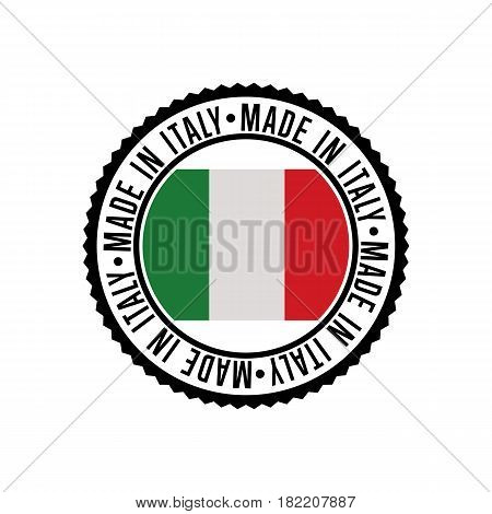 Made in Italy round rubber stamp for products vector illustration isolated on white background. Exporting stamp with italian flag, certificate element