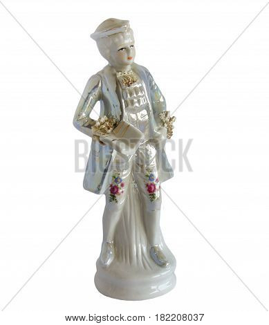Vintage style serial porcelain figurine The Young Poet isolated on white background