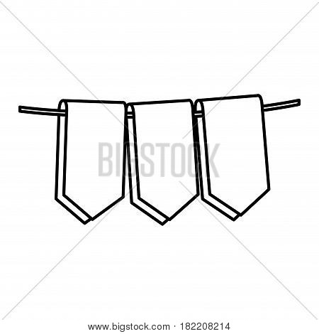 set silhouette decorative pennants celebration vector illustration