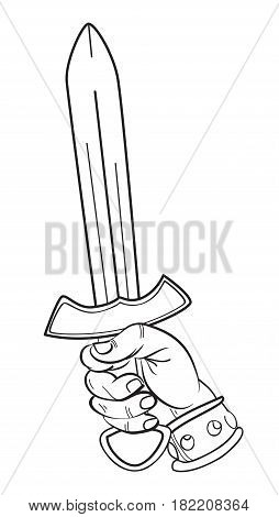 Cartoon image of hand with sword. An artistic freehand picture.
