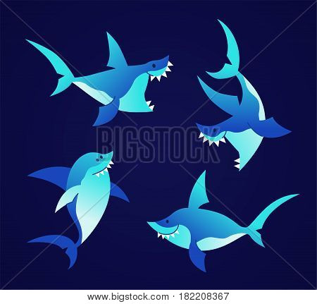Shark - modern vector set of flat cartoon sea creature characters. Gift images of shark swimming, smiling, hunting.