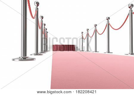 Red event carpet isolated on white background, between two rope barriers, 3d rendering