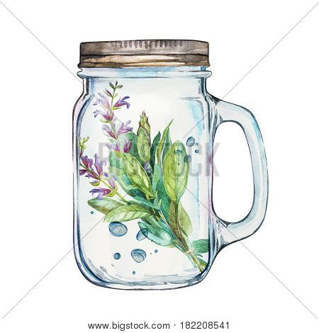 Isoleted Tumbler with stainless steel lid and sage. Watercolor hand drawn painted illustration, water line and bubbles