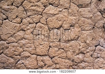 background texture of old clay wall cracked from age and dryness