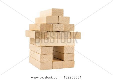 building made from wooden block on white background